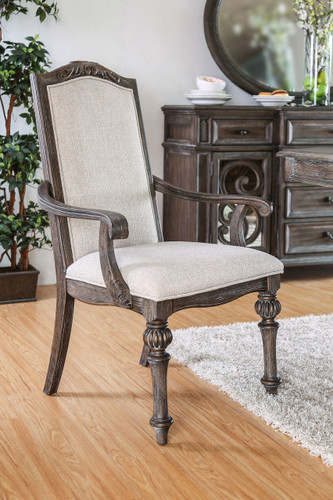 Arcadia Natural Finish Ivory Upholstered Fabric Arm Chairs