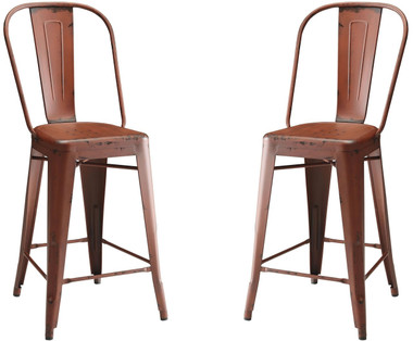 Lahner Bistro Style Metal Counter Stools (Set of 2)| Red Color CR104883