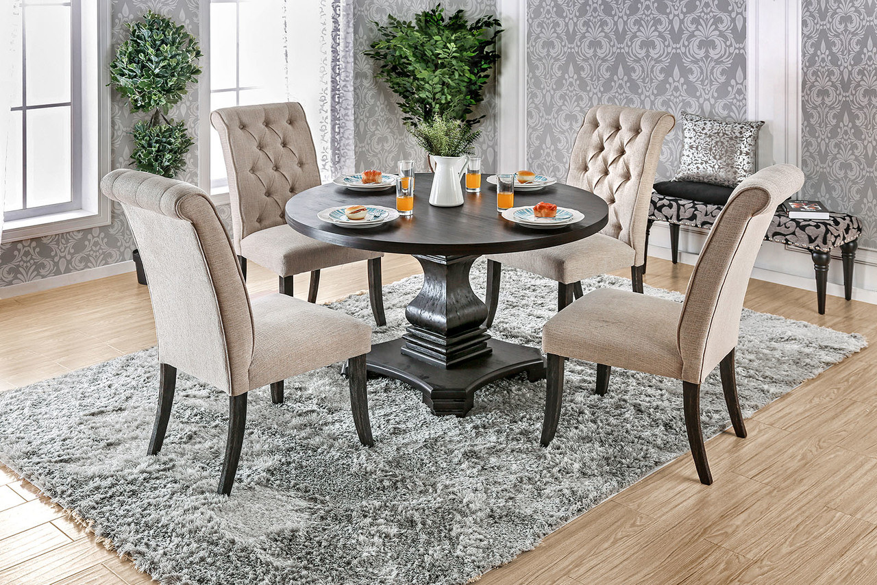 Charming Furniture Of America CM3840RT Round Dining Table | Fancy Antique Black Round  Pedestal Table ...