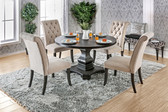 Furniture of America CM3840RT Round Dining Table | Fancy Antique Black Round Pedestal Table