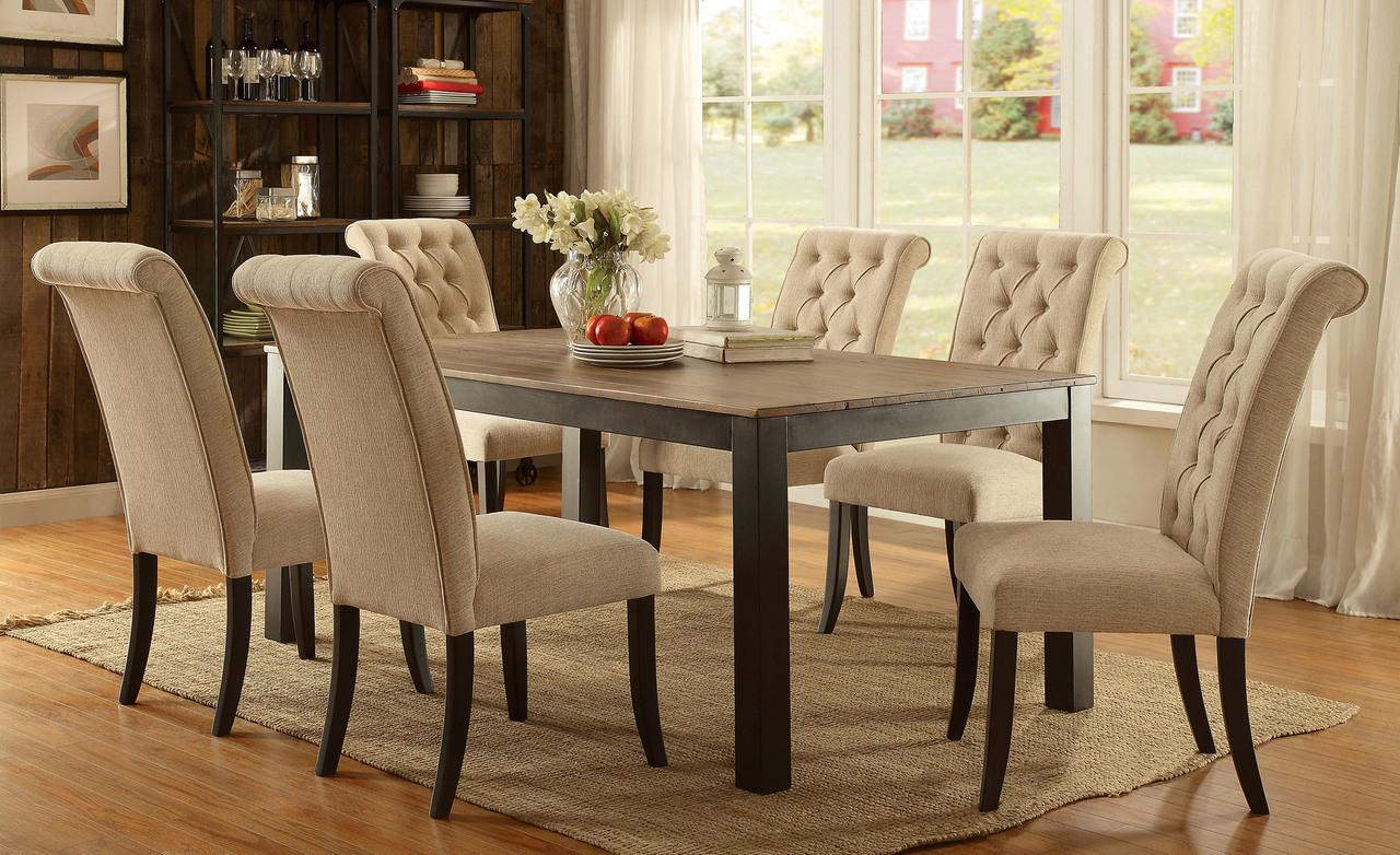 Furniture of America CM3564T Rectangular Dining Set | Transitional Wood Metal Dining Set in Black and & Furniture of America CM3564T Rectangular Dining Set