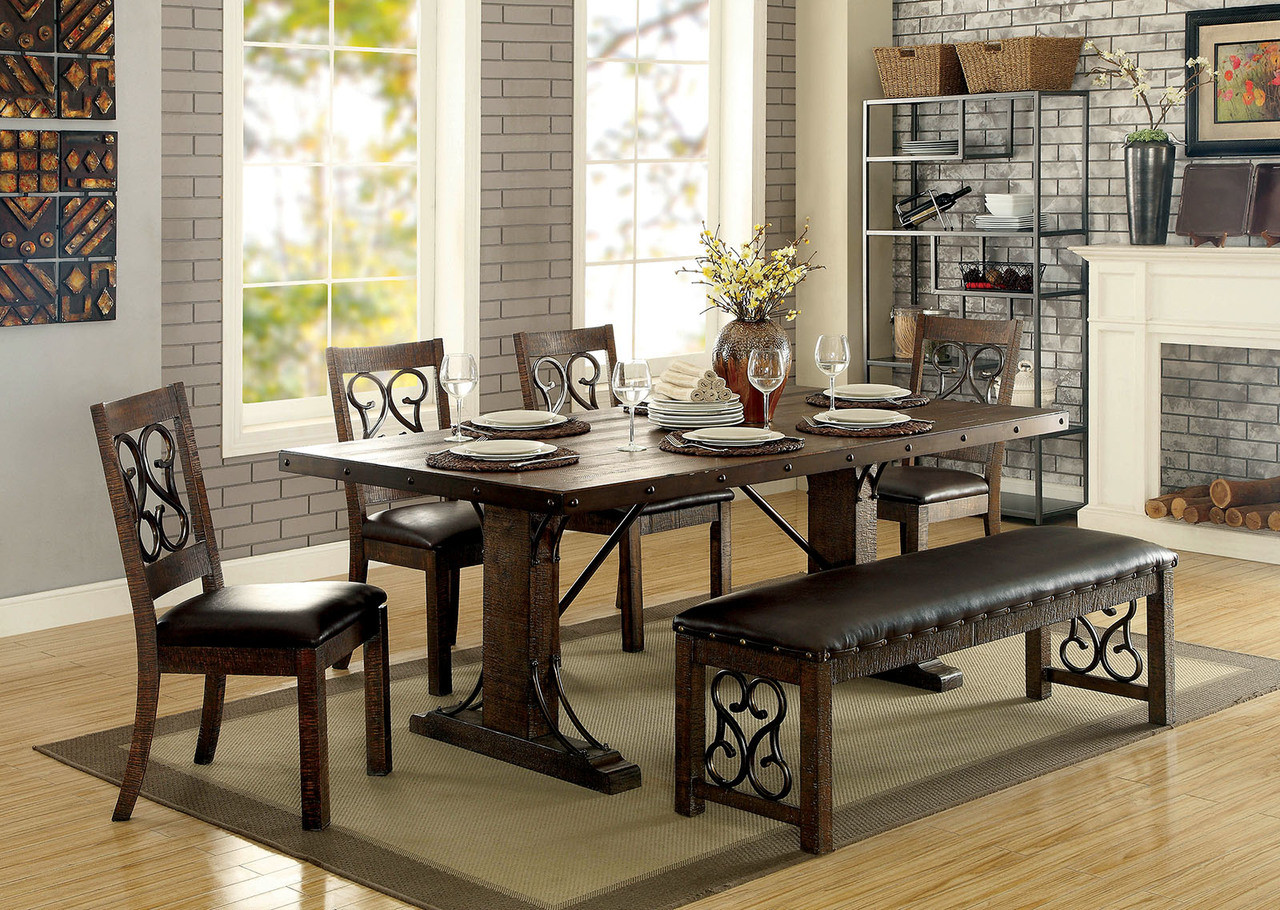 furniture of america cm3465t wood metal dining set traditional dining with hints of medieval flair