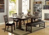 Furniture of America CM3465T Wood Metal Dining Set | Traditional Dining with hints of Medieval flair in rustic walnut