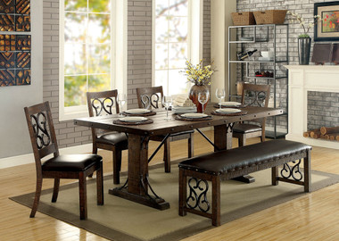 Furniture of America CM3465T Wood Metal Dining Table with hints of Medieval flair in rustic walnut