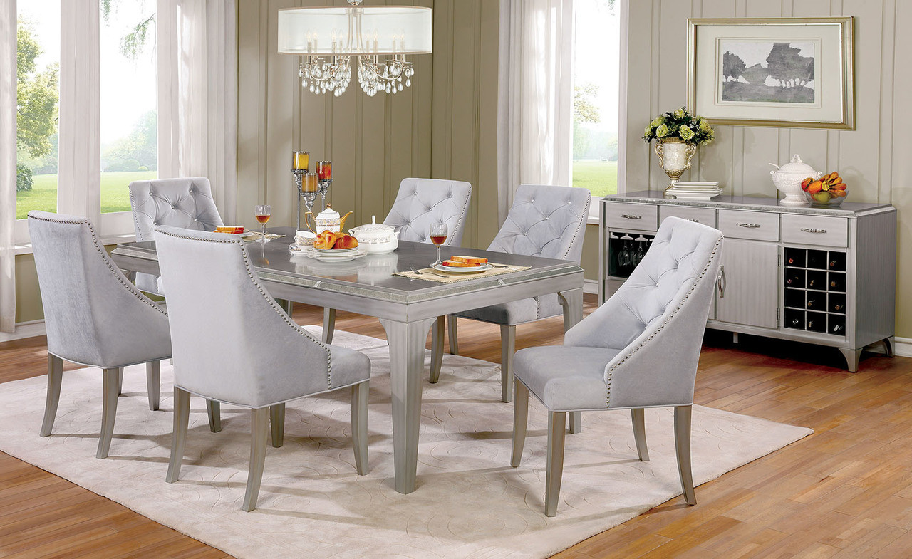 furniture of america cm3020t dining table set glamorous design silver dining table with antique mirror - Silver Dining Room Interior