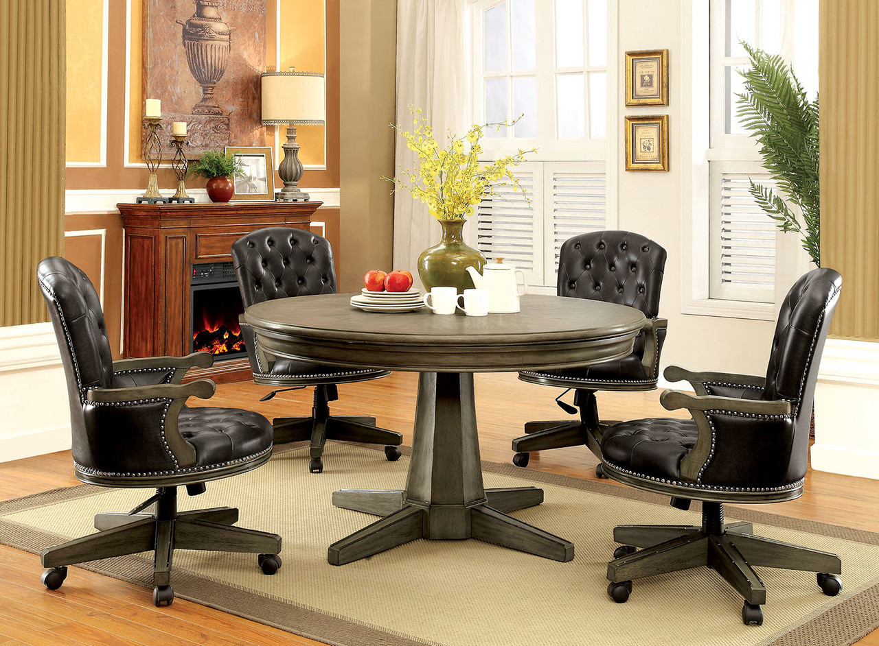 Yelena gray 54 round card table with chairs