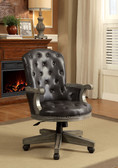 Yelena Gray Adjustable Game Arm Chair on Casters | Versatile Adjustable Button Tufted Leather Game Chair
