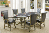 Melina Casino Style Interchangeable Game Card Table | Versatile Weathered Gray Card Game Room Table