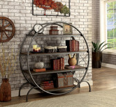 Furniture of America AC520 Industrial Book Shelf | Industrial Style Circular Dark Gray Black Book Case