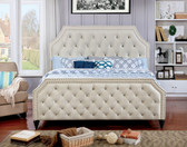 Furniture of America CM7675 Corner Cut Out Bed | Contemporary Style Platform Bed with Nail-head Trim