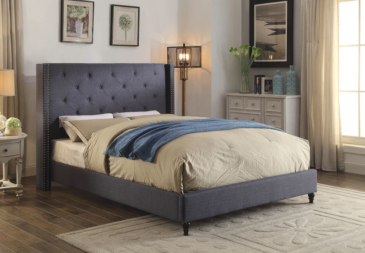 Furniture of america cm7677 wingback platform bed for Furnishing america