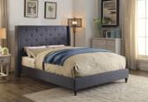 Furniture of America CM7677 Wingback Platform Bed   Blue Bed