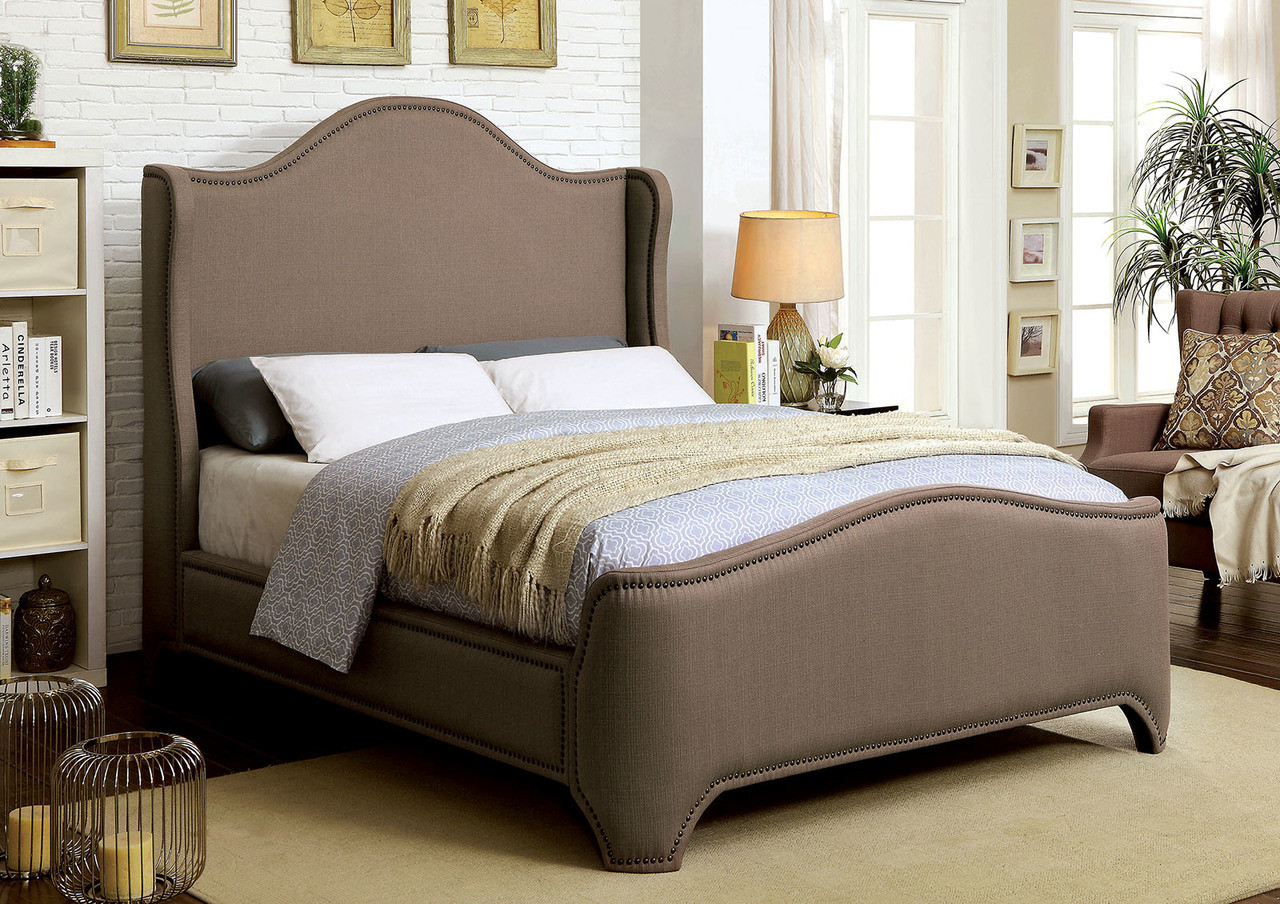 furniture of america cm7516 wing back bed chic camel back look headboard - Wingback Bed Frame