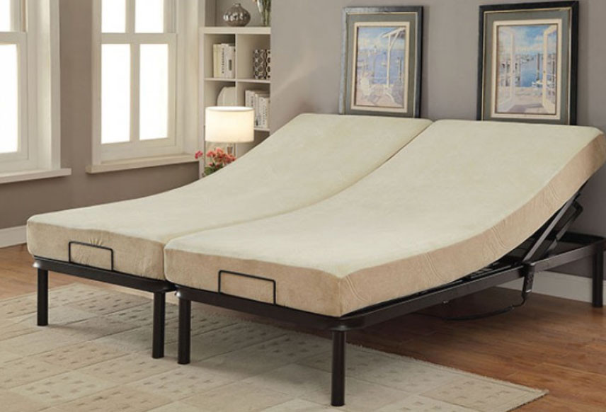 two adjustable beds side by side to create king bed shown with optional mattresses - Adjustable Bed Frames