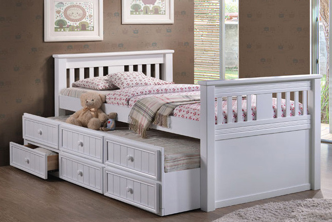 Gary Mission Wood Extra Long Twin Bed | Trundle Bed + Drawers