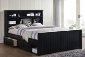 Dillon Wood Bead Board Queen Captains Bed | Queen Size Storage Bed