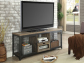 Culbertson CM5823 Rustic Oak and Black Finish TV Cabinet with Mesh Doors
