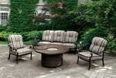 Furniture of America CM-OS2124 Patio Sofa Set | FERNANDA Patio Sofa w/ Striped Fabric Cushions / CM-OS2124