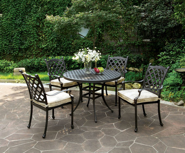 Chiara Outdoor Patio Round Dining Table Set | CHIARA Patio Table with 4 Arm Chairs
