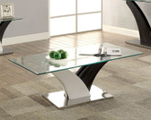 Furniture of America CM4244 Rectangular Glass Coffee Table | SLOANE Rectangular Glass Top Artistic Structure Base