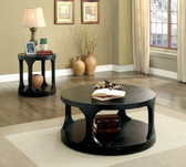 Furniture of America CM4422 Round Coffee Table | CARRIE Antique Black Round Coffee Table with Accent Shelf