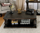 Furniture of America CM4455 Weathered Walnut Coffee Table | KEIRA Weathered Walnut Coffee table with Wooden Top