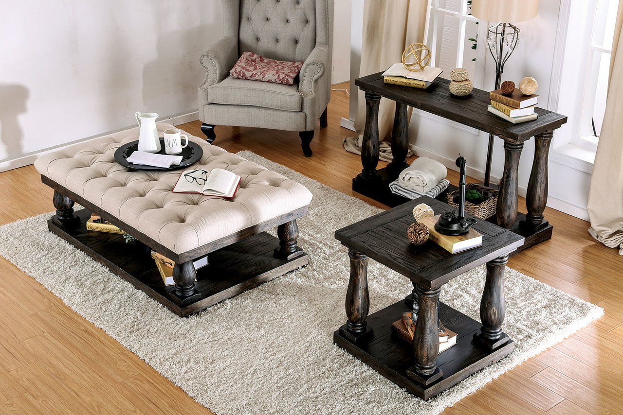 ... Furniture Of America CM4455 Weathered Walnut Cushioned Coffee Table  With End And Sofa Tables