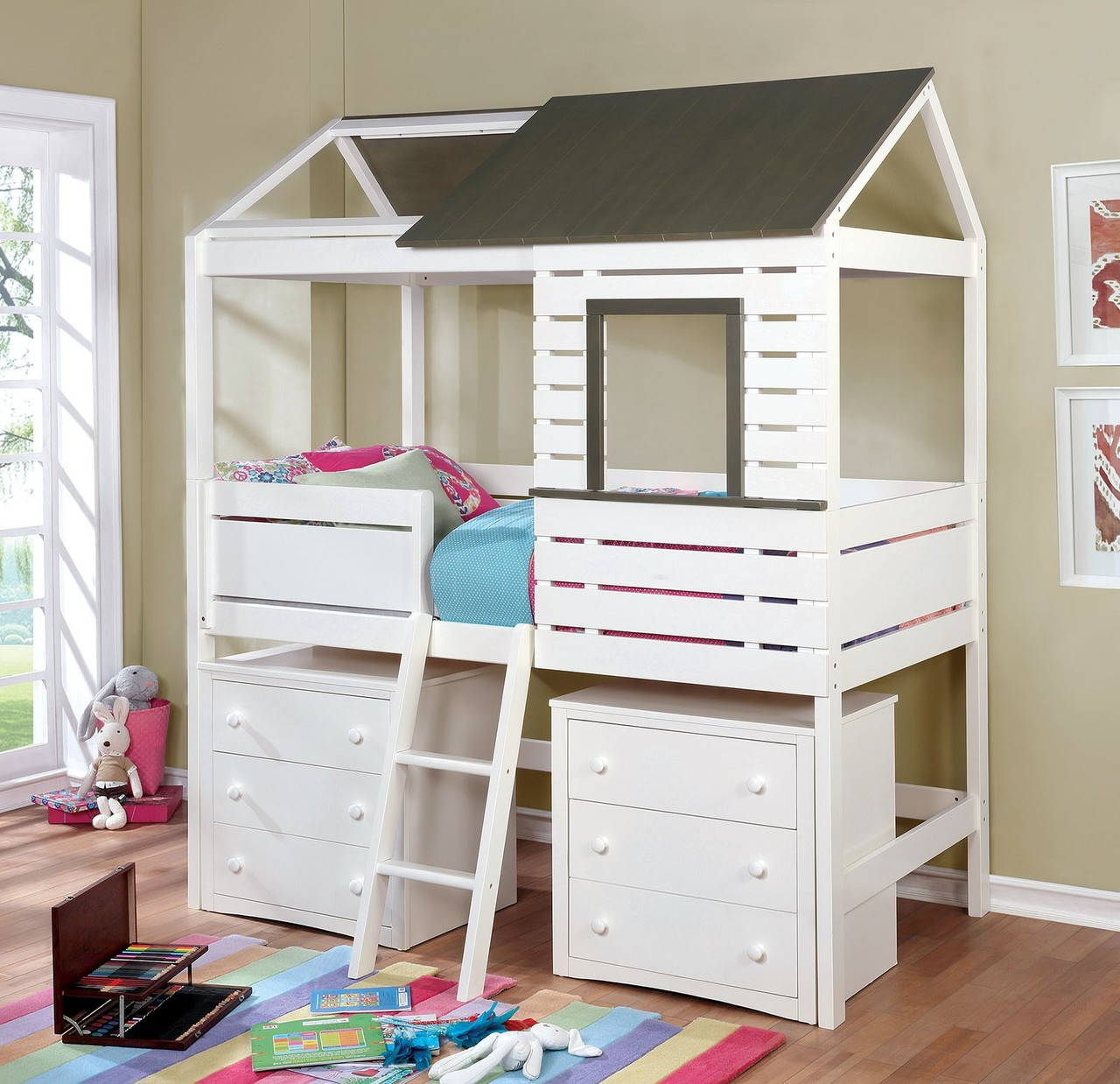 Furniture Of America CM7137 White Gray House Bed | FAREM Lofted House Bed