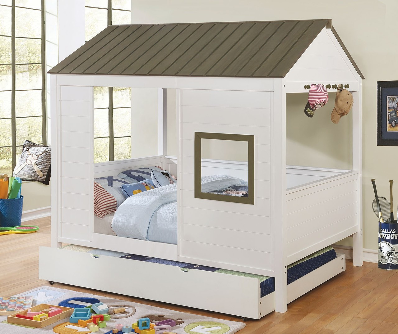 Furniture Of America CM7133 White Full Size House Bed | COBIN White Gray  Accents Wood House