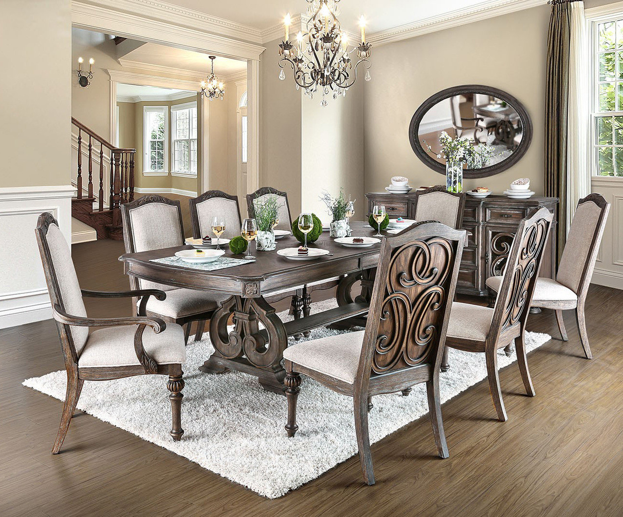 Perfect Furniture Of America CM3150T Rustic Natural Dining Set | ARCADIA 7PC Dining  Table With Extension ...