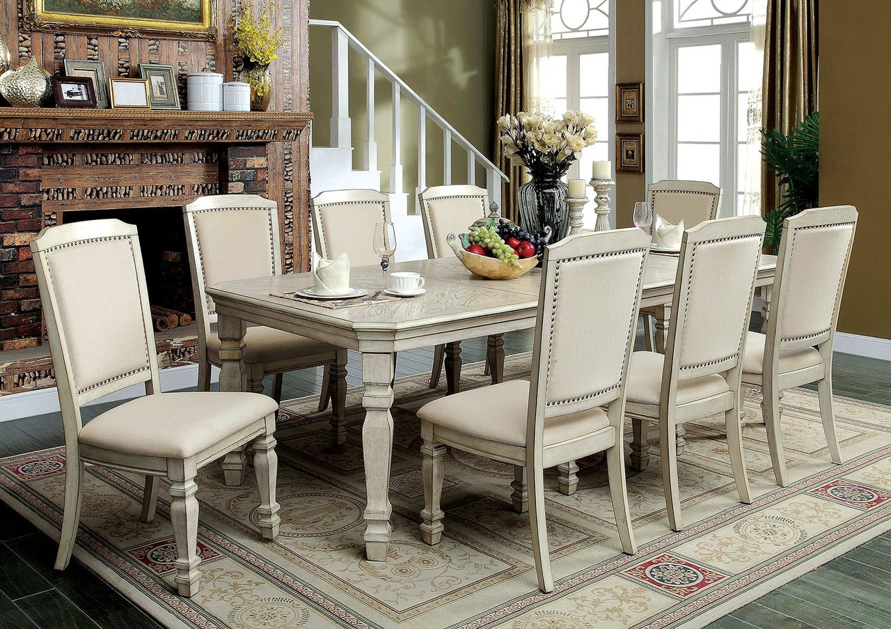 Furniture of America CM3600T Antique White Dining Set | HOLCROFT Extension  Dining Table with 6 Chairs ... - Furniture Of America CM3600T Antique White Dining Set