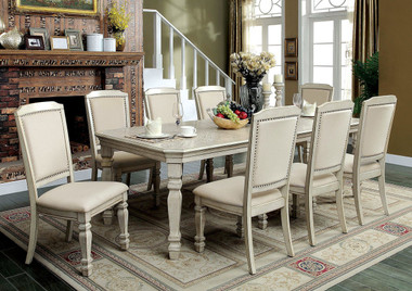 Furniture of America Antique White Table with Chairs