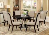 "Furniture of America Espresso Champagne Round Dining Set | Ornette 60"" Diameter Round Espresso Dining Set"