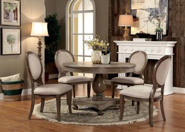 Furniture of America CM3872RT Rustic Oak Round Table