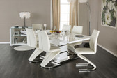 Furniture of America Midvale CM3650T White Dining Set | MIDVALE Contemporary White Lacquer Dining Set