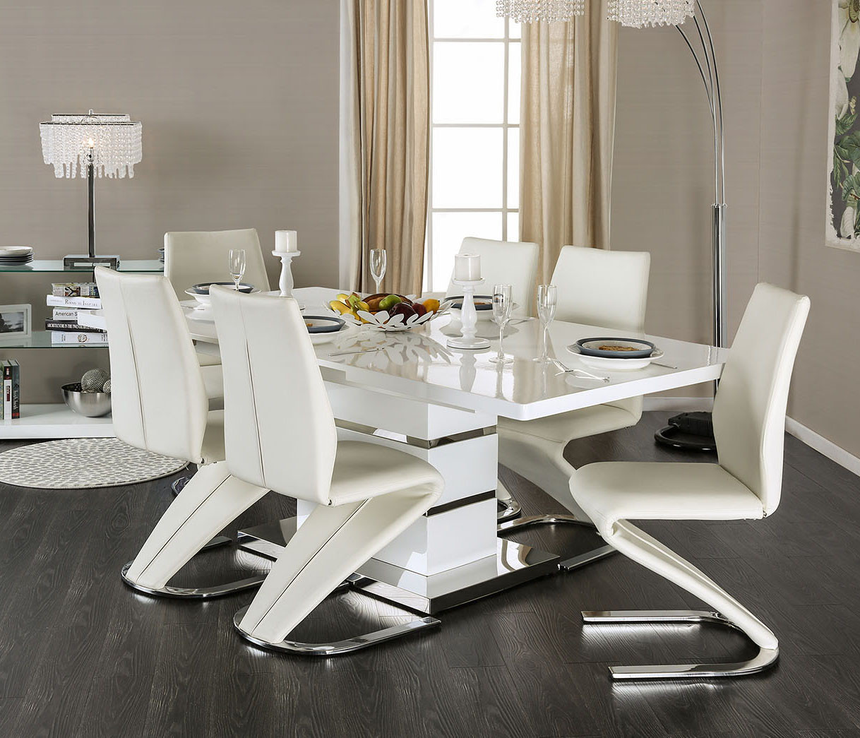 Midvale Cm3650t White Dining Set White Amp Black