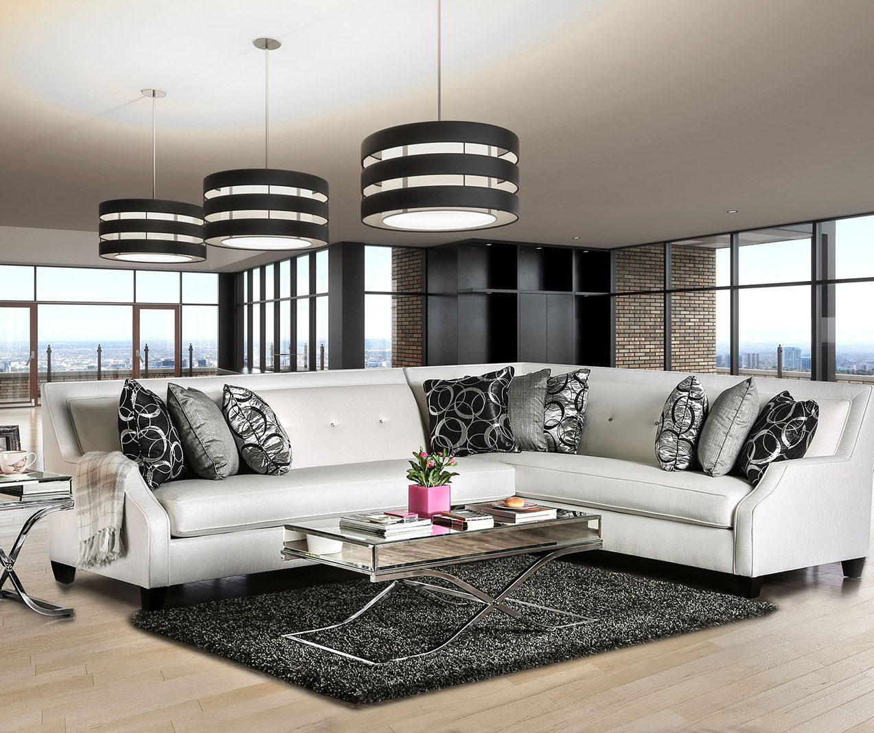 Furniture of America SM2263 High Shine OFF White Sectional