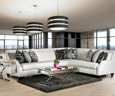 Furniture of America SM2263 High Shine OFF White Sectional | BETRIA Glitter-Like Shine Fabric with Pillows