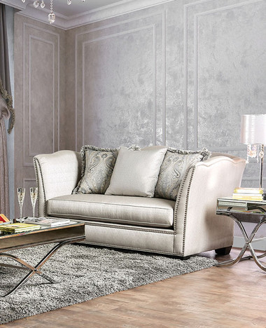 Furniture of America Silky Silver Fabric Love Seat