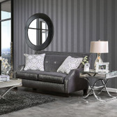 Furniture of America Shined Black Fabric Love Seat | MASSIMO SM2252-LV Chic Shined Black Love Seat
