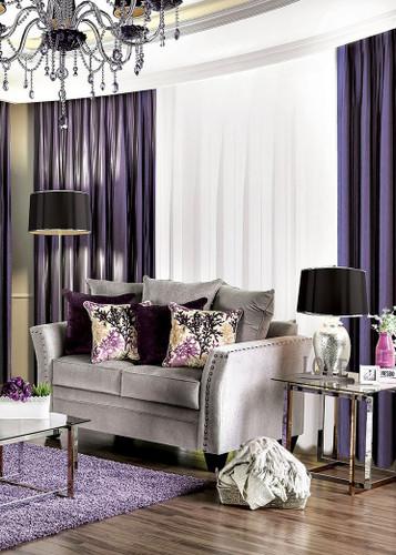 Furniture of America SM6204 Silver Fabric Love Seat | Oliviera Silver Velvet-Like Fabric Love Seat