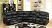 Furniture of America CM6982 Black Leatherette Sectional | GATRIA Curved Black Leatherette Reclining Sectional