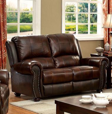 Turton CM6191 Top Grain Leather Match Love Seat | Furniture of America Brown Top Grain Leather Match Love Seat