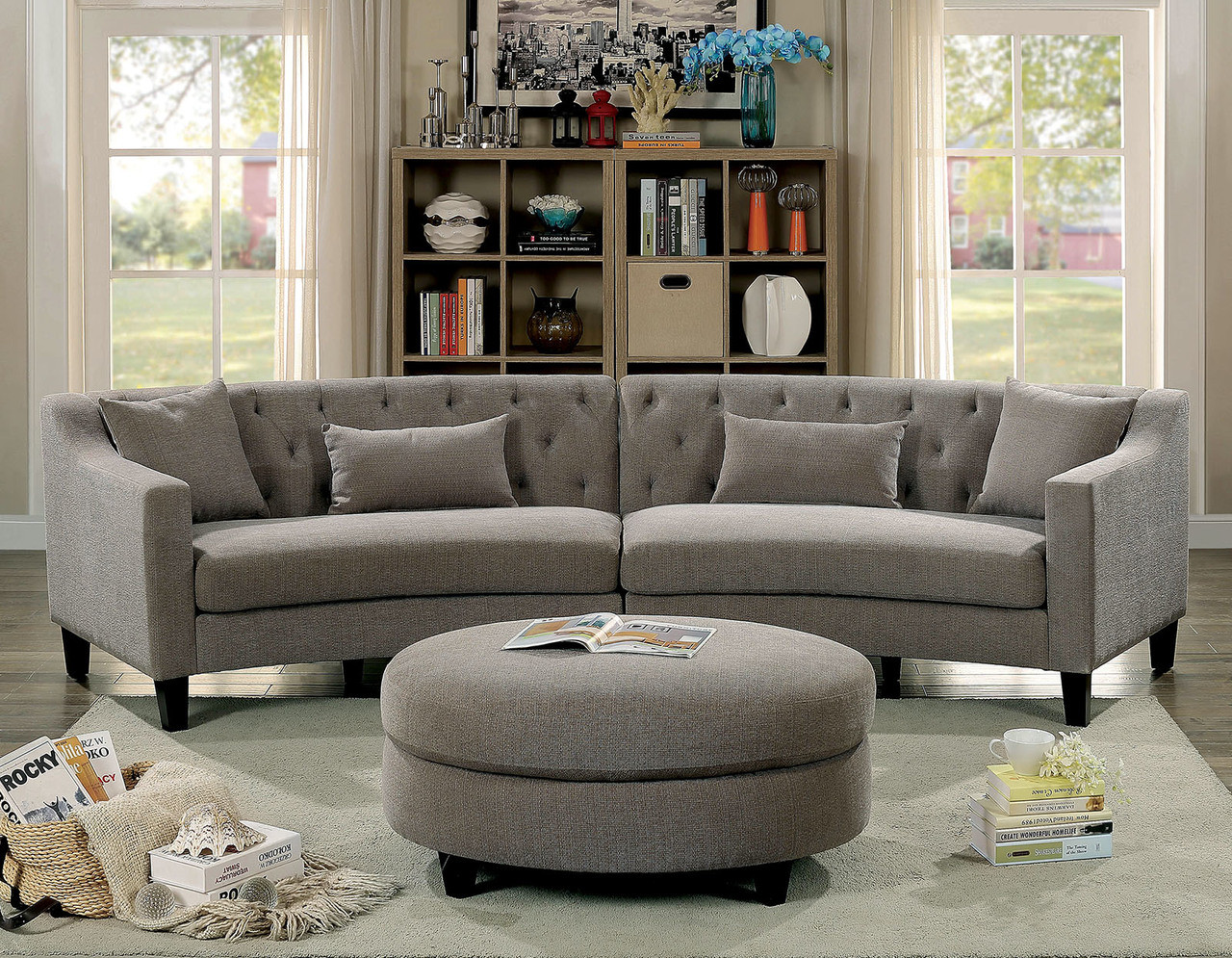 Lovely Furniture Of America CM6370 Fabric Corner Sofa Set | SARIN Warm Gray Fabric  Curved Sectional Ottoman ...