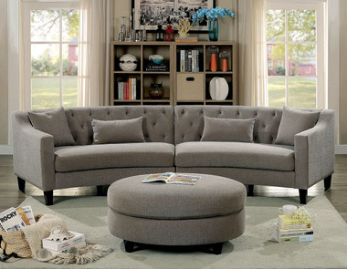 Furniture Of America CM6370 Fabric Corner Sofa Set | SARIN Warm Gray Fabric Curved Sectional Ottoman