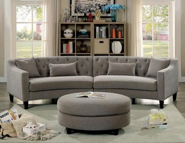 Furniture Of America CM6370 Fabric Corner Sofa Set | SARIN Warm Gray Fabric Curved Sectional Ottoman