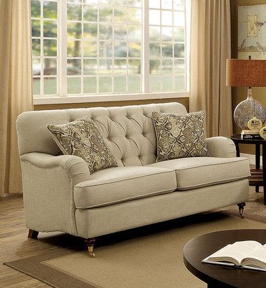 Furniture of America CM6863 Beige Fabric Love Seat | LANEY Deep Button Tufting Love Seat