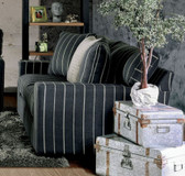Furniture of America SM1273 Stripes Fabric Love Seat | SM1273-LV Black Gray Stripes Love Seat