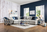 Furniture Of America Pennington SM1111 Fabric Sectional | PENNIGTON L Shape SM1111 Sectional Sofa in Light Gray