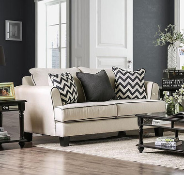 Furniture of America SM1278 Off White Fabric Love Seat